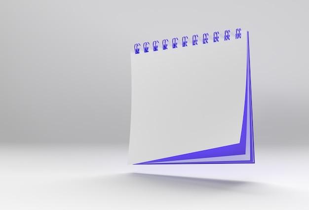3d render notebook mock up con uno spazio vuoto pulito per il design e la pubblicità, vista prospettica dell'illustrazione 3d.