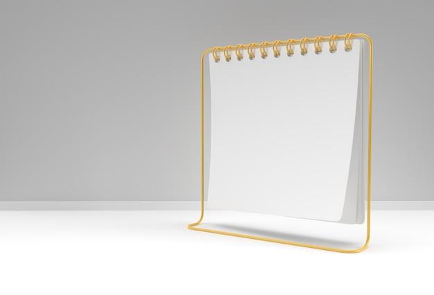 3d render notebook mock up con spazio vuoto pulito per il design e la pubblicità, vista prospettica dell'illustrazione 3d.