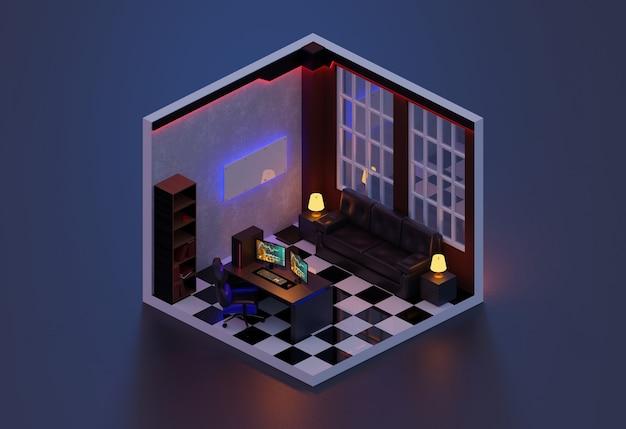 Rendering 3d camera ufficio isometrica., illustrazione 3d.