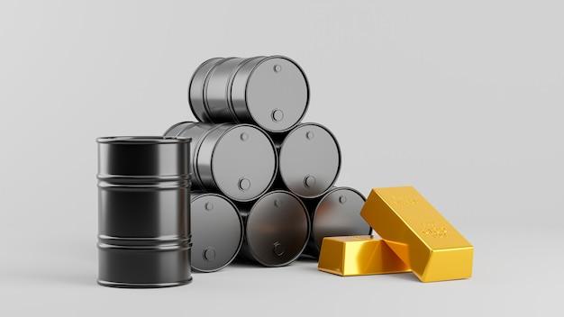 Rendering 3d di barile di petrolio con lingotto d'oro per il concetto di business