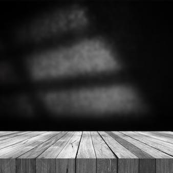 Rendering 3d di un vecchio tavolo in legno su uno sfondo di parete grunge