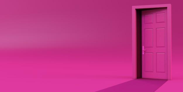 Rendering 3d di porta aperta isolata su sfondo rosa.