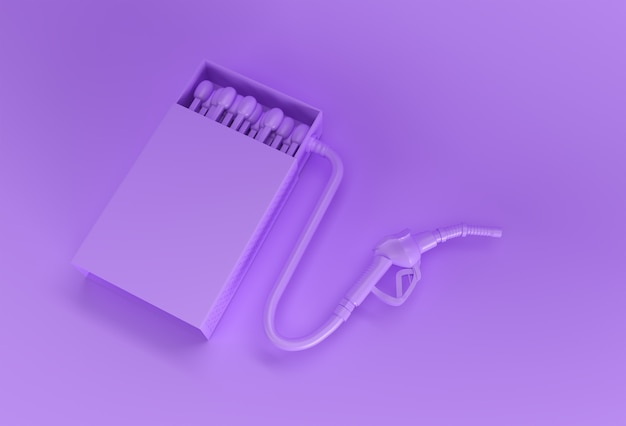 3d render aperto scatola di fiammiferi vuota mockup con ugello della pompa del carburante isolato su sfondo a colori