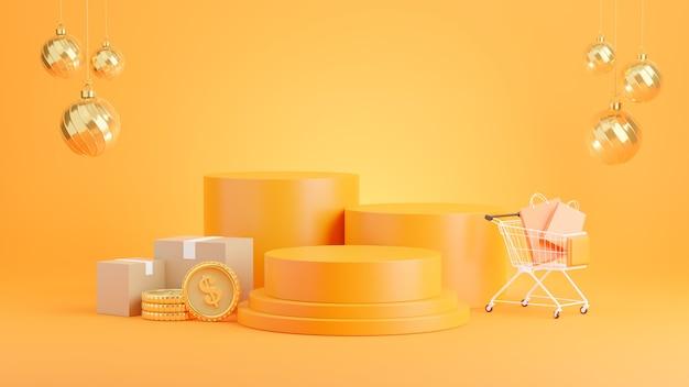 Rendering 3d del podio arancione con il concetto di acquisto in linea per la visualizzazione del prodotto