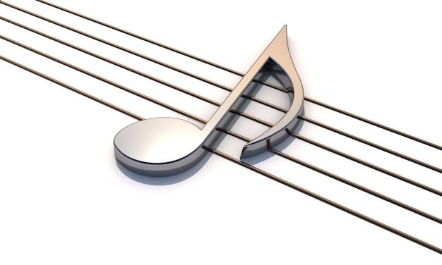 Rendering 3d. pentagramma con nota musicale metallica lucida.