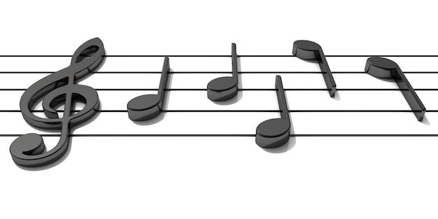 Rendering 3d. pentagramma con note musicali brillanti.