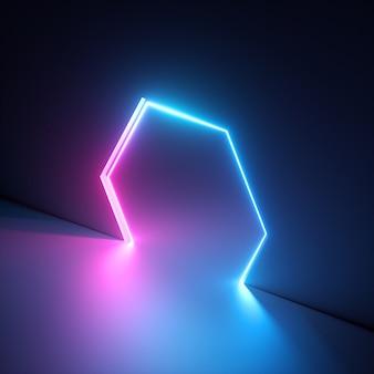 Rendering 3d di luce vivida blu rosa, foro esagonale ultravioletto nel muro