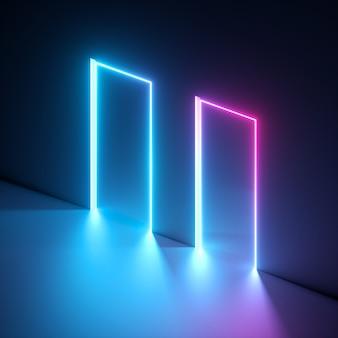 Rendering 3d di luce vivida blu rosa e forma geometrica rettangolare ultravioletta