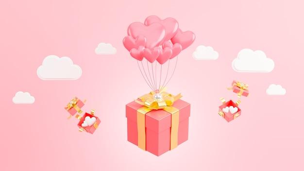 Rendering 3d di cuore rosa al giorno di san valentino con regalo