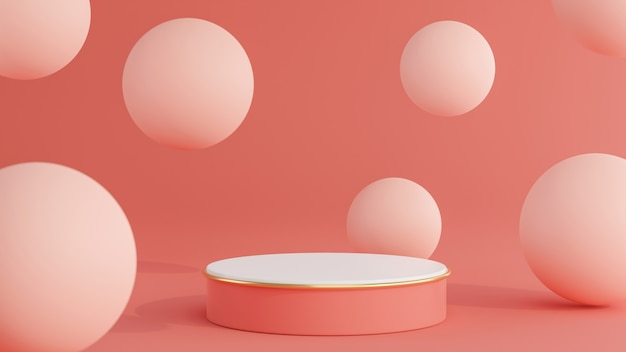 Rendering 3d del podio rosa con sfera per la visualizzazione del prodotto