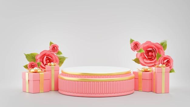 Rendering 3d del podio rosa con il concetto di san valentino per la visualizzazione del prodotto
