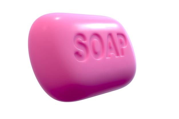Rendering 3d di sapone rosa con testo isolato