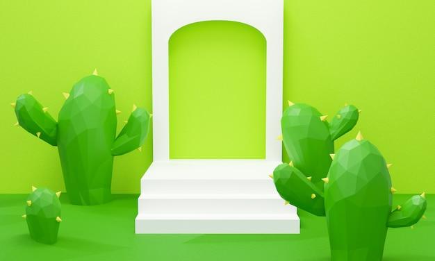 Rendering 3d di podio e albero di cactus