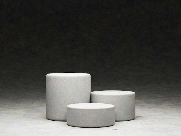 3d render di podio o piedistallo su sfondo concreto con la pietra.concetto astratto.