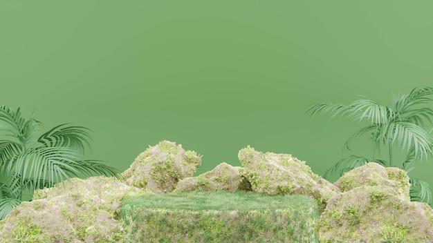 Rendering 3d del podio con erba per la visualizzazione del prodotto