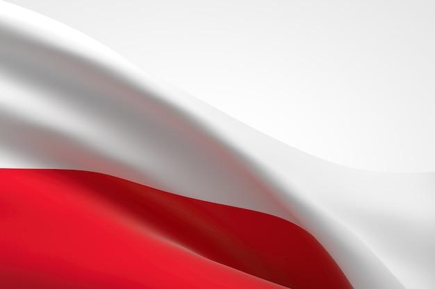 Rendering 3d della bandiera polacca sventola.