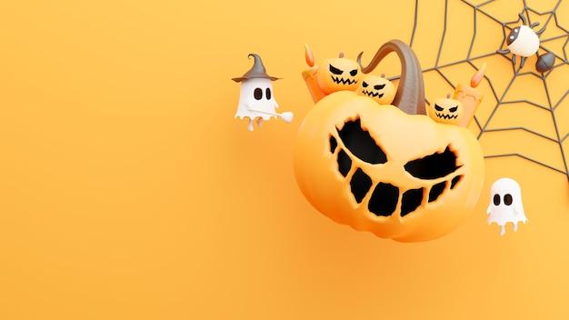 Rendering 3d di zucca al giorno di halloween con decorazioni