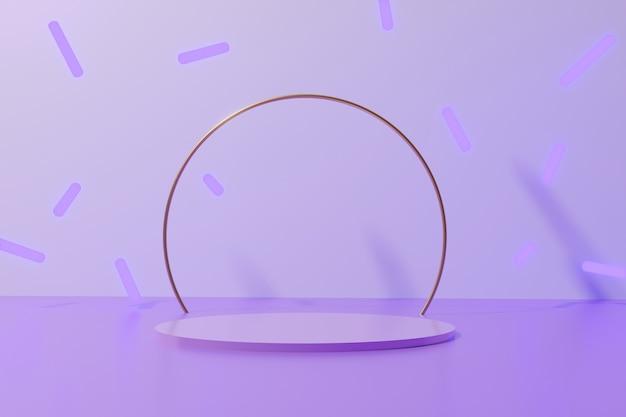 3d rendono il podio rotondo di colore viola con anello metallico dorato lucido e bastoncini al neon che cadono su sfondo monocromatico