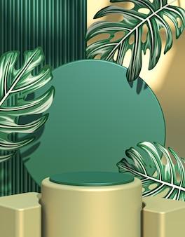 3d rendono il podio realistico con il concetto di foresta verde foto premium