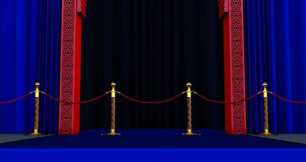 Rendering 3d della porta araba rossa con barriera in corda rossa, tappeto blu, concetto vip