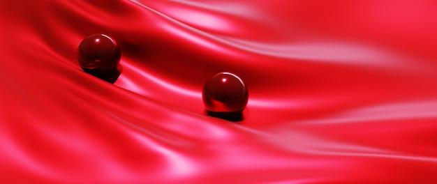 Rendering 3d di palline rosse e sfondo di seta moda arte astratta.