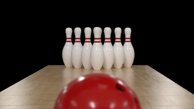 Rendering 3d palla da bowling rossa su sfondo nero con perni