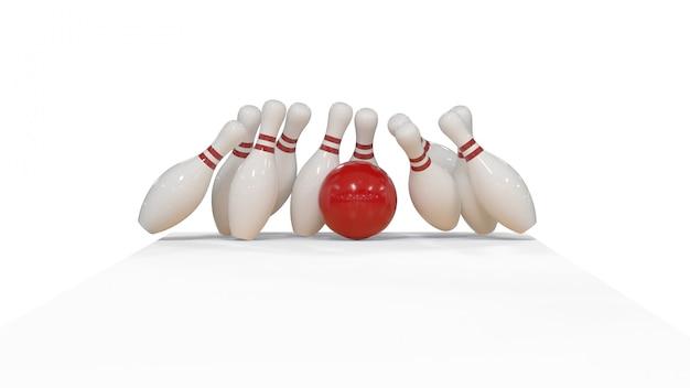 Rendering 3d colpo di palla da bowling rosso su uno sfondo bianco con perni