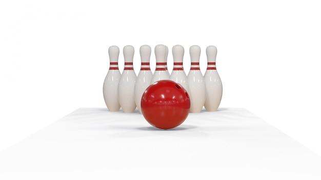 Rendering 3d palla da bowling rossa su uno sfondo bianco con perni