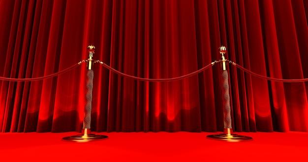 Rendering 3d di tappeto rosso tra barriere di corda su sfondo di seta, concetto vip