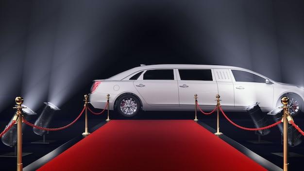 3d render tappeto rosso con una limousine su sfondo nero