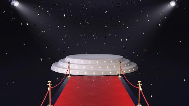 3d render tappeto rosso con podio e coriandoli che cadono