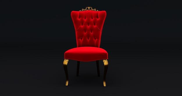 Rendering 3d del re della sedia rossa isolato su sfondo nero, concetto vip
