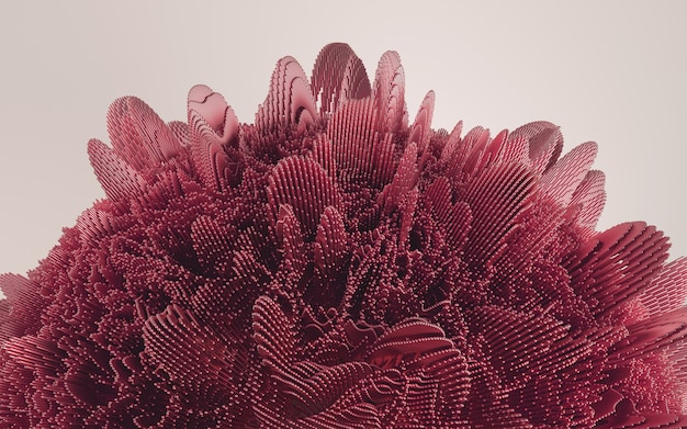 Rendering 3d di forma deatailed rosso. sfondo futuristico dinamico.