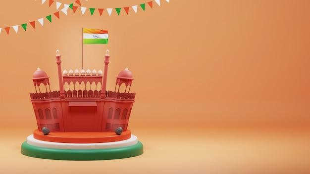 3d render red fort monumento su podio o palcoscenico con bandiera dell'india e spazio di copia su sfondo arancione sfumato.