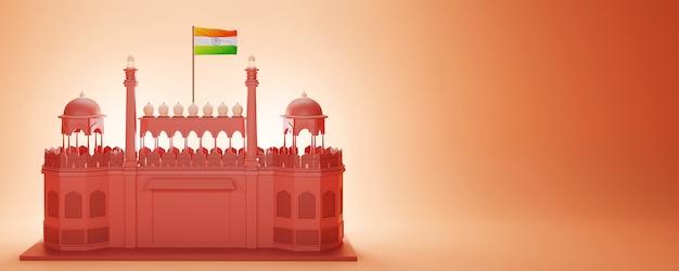 3d render red fort monumento con bandiera dell'india e spazio di copia su sfondo arancione lucido.