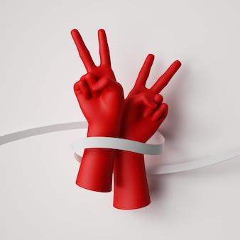 Rendering 3d di mani rosse avvolte con nastro bianco isolato. protesta pacifica, lotta per i diritti umani.