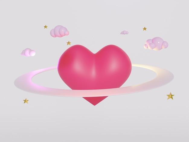 Rendering 3d del simbolo del cuore rosso.