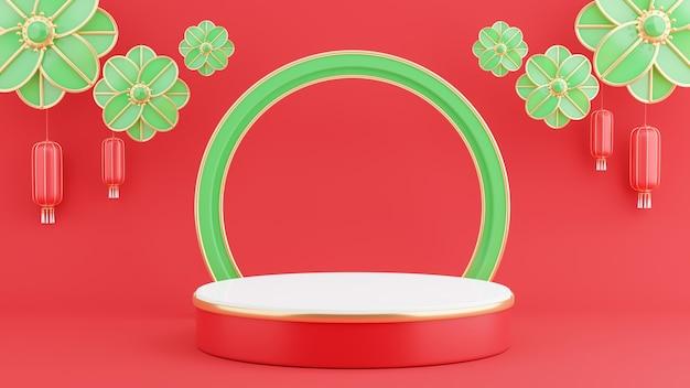 Rendering 3d del podio rosso con il concetto cinese per la visualizzazione del prodotto