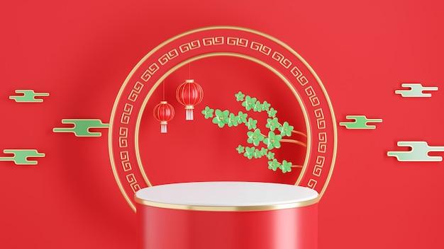 Rendering 3d del podio rosso con il concetto di capodanno cinese per la visualizzazione del prodotto
