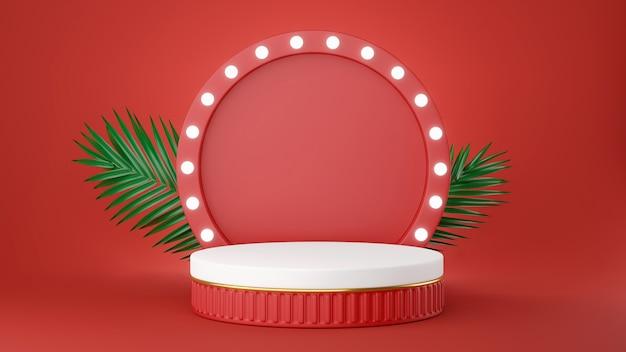 Rendering 3d del podio rosso con il concetto di decorazione per la visualizzazione del prodotto