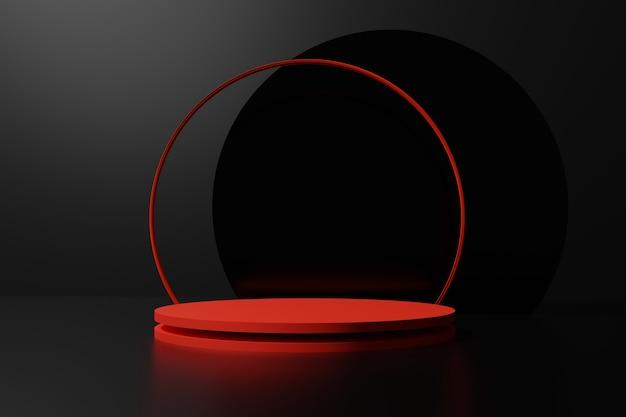 3d rende il podio rosso con un anello ad arco rosso su sfondo nero per il tuo progetto del venerdì nero