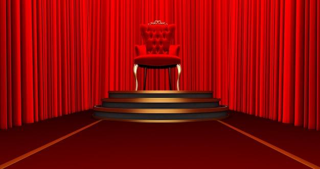 Rendering 3d della sedia reale rossa su un piedistallo. posto per il re. trono reale su sfondo di seta rossa,