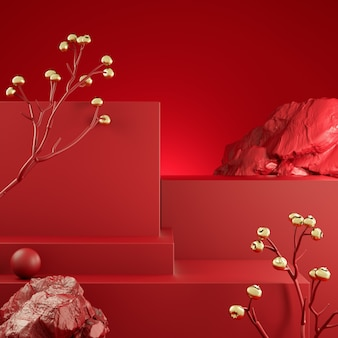 Rendering 3d visualizzazione passo rosso con illustrazione sfondo astratto ramo dorato