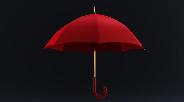 Rendering 3d di un ombrello rosso isolato su sfondo nero