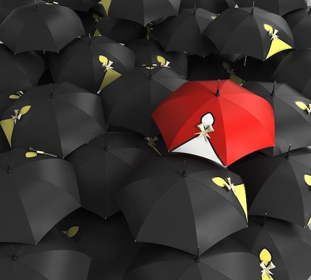Rendering 3d l'ombrello rosso si distingue dalla massa di molti ombrelloni in bianco e nero. affari, concetto di leader, essendo concetti diversi