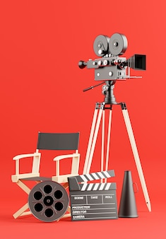 Rendering 3d di cinepresa retrò con pellicola a bobina, ciak, sedia da regista, megafono