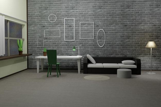 Rendering 3d di cornici vuote interne moderne della stanza