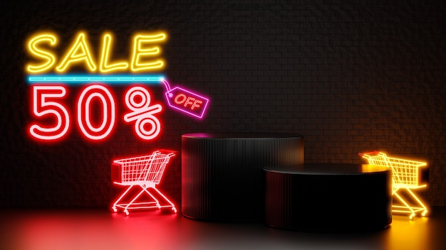 Rendering 3d di vendita 50% di sconto con podio per la visualizzazione del prodotto