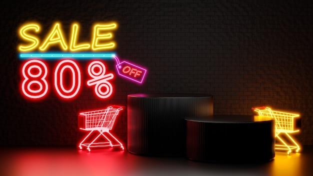 Rendering 3d di vendita 80% di sconto con podio per la visualizzazione del prodotto