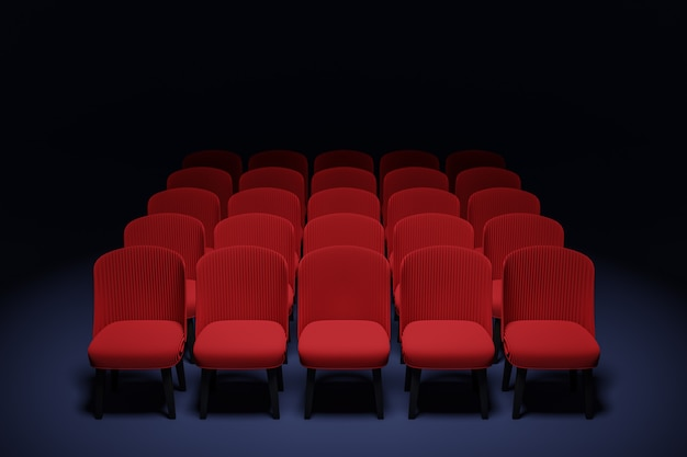 3d render le stesse file di sedie morbide rosse dei cartoni animati nel teatro. concetto di un bellissimo cinema con sedie